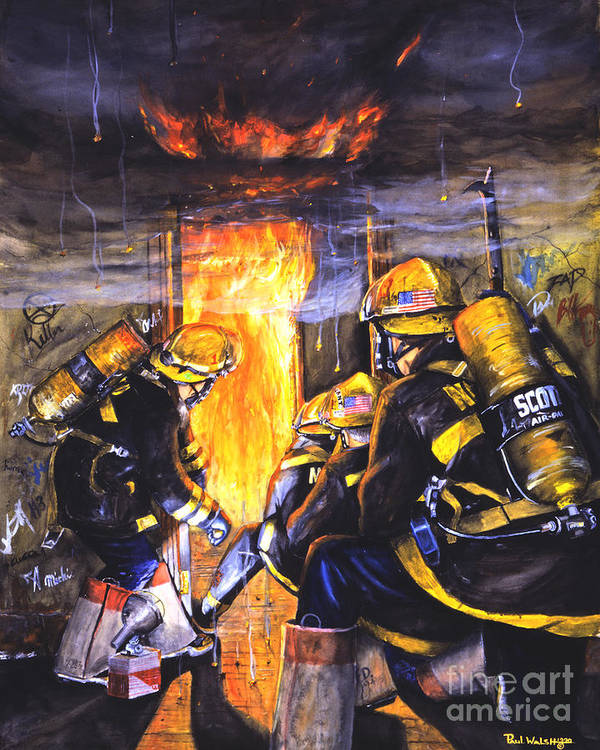 Firefighting Art Print featuring the painting Devil's Doorway by Paul Walsh