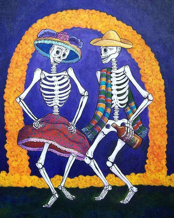 Dia De Los Muertos Art Print featuring the painting Dia De Los Muertos by Candy Mayer