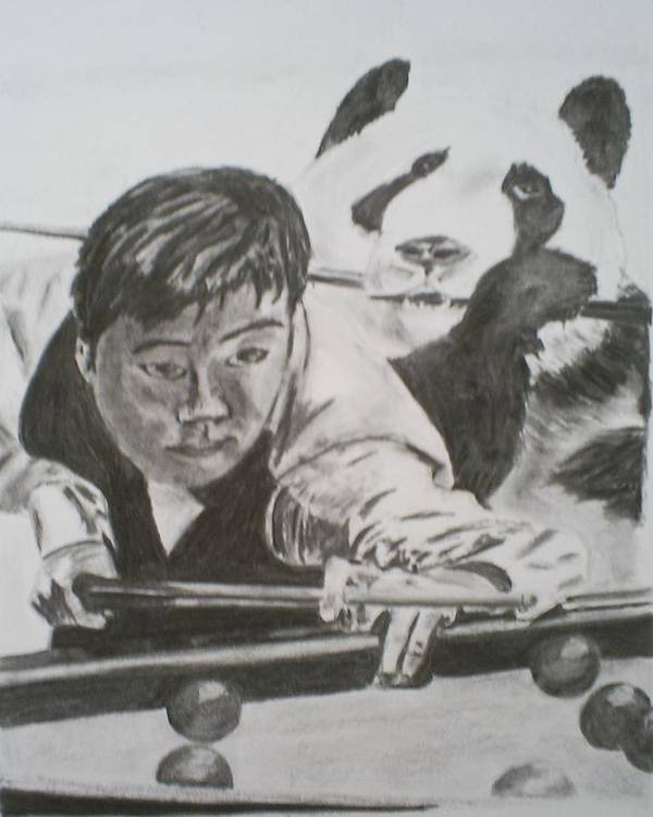 Snooker Art Print featuring the drawing Ding Junhui Snooker by James Dolan