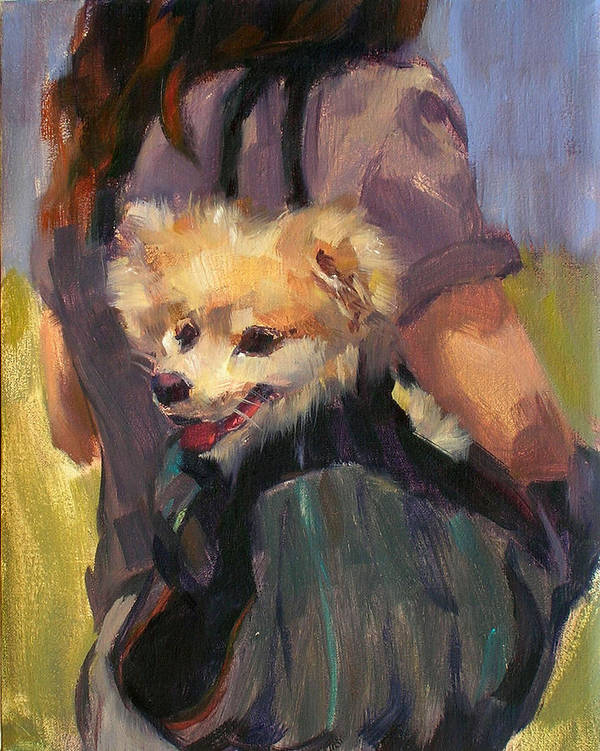 Dog Art Print featuring the painting Dog In A Backpack by Merle Keller
