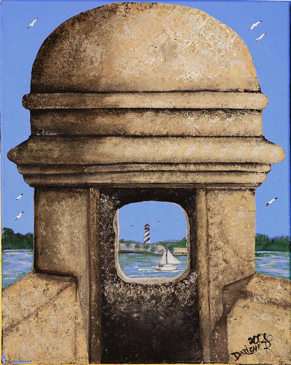 St. Augustine Lighthoue Art Print featuring the painting Double Sentry by Darlene Green