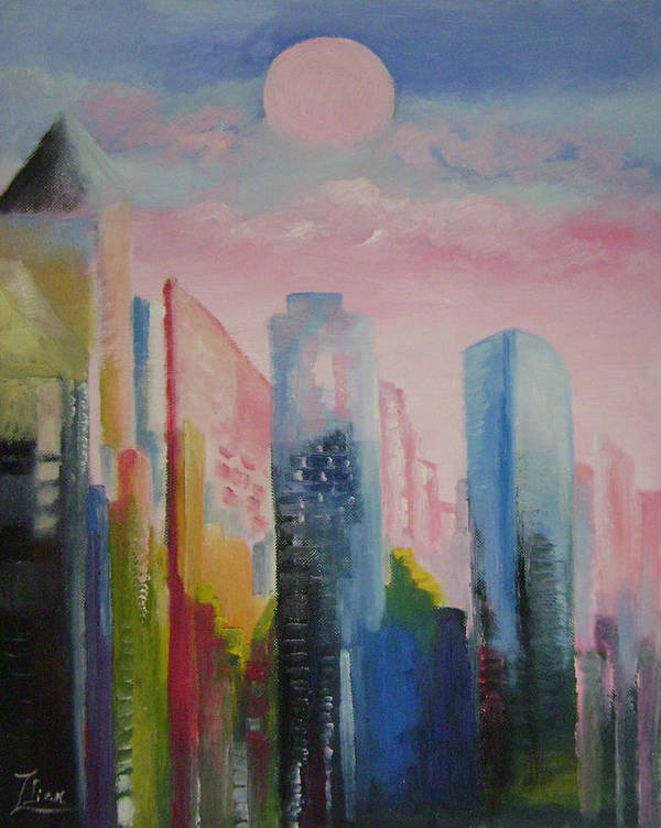 Abstract Art Print featuring the painting Dream City No.1 by Lian Zhen