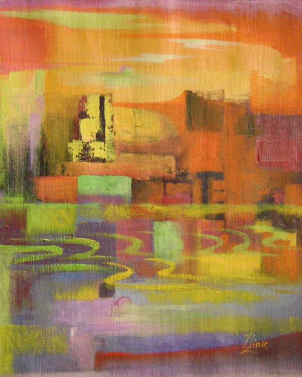 Abstract Art Print featuring the painting Dream City No.4 by Lian Zhen