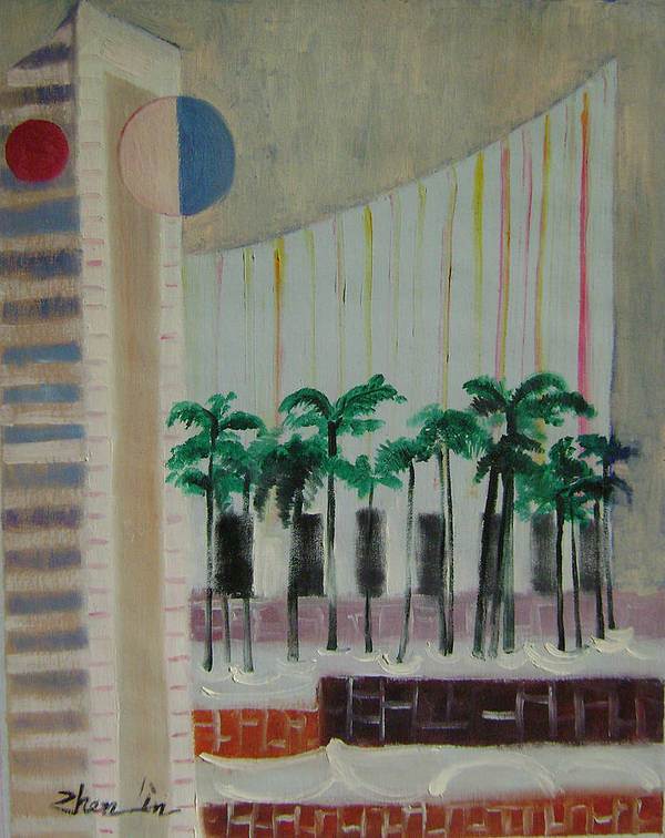 Abstract Art Print featuring the painting Dream City No.7 by Lian Zhen