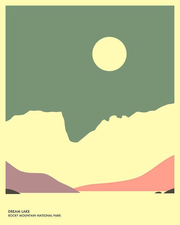 Dream Lake Art Print featuring the digital art Dream Lake, Rocky Mountain National Park by Jazzberry Blue