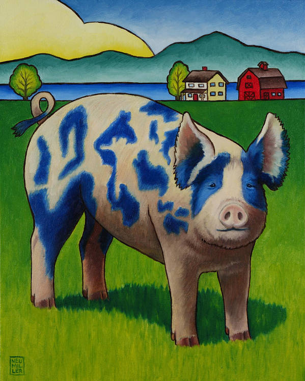 Pig Art Print featuring the painting Earl Of Whidbey by Stacey Neumiller
