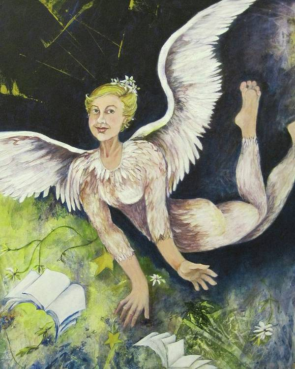 Figurative Painting Of A Flying Angel With Wings And Feathers Covering Body. Earth Angel Is Distributing Gifts Of Books Art Print featuring the painting Earth Angel by Georgia Annwell