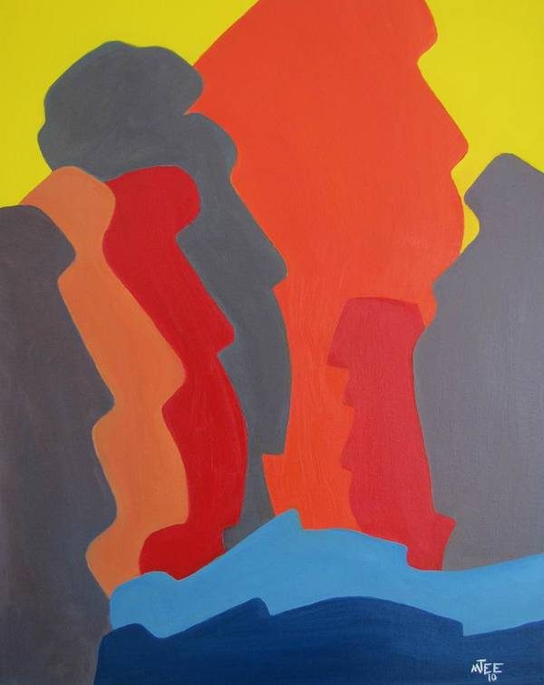 Easter Island. Michael Tmad Finney Art Print featuring the painting Easter Island by Michael TMAD Finney AKA MTEE