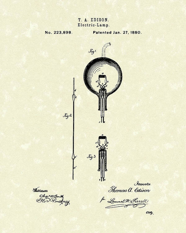 Edison Art Print featuring the drawing Electric Lamp 1880 Patent Art by Prior Art Design