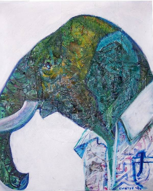 Elephant Art Print featuring the mixed media Elephant Man by Dave Kwinter