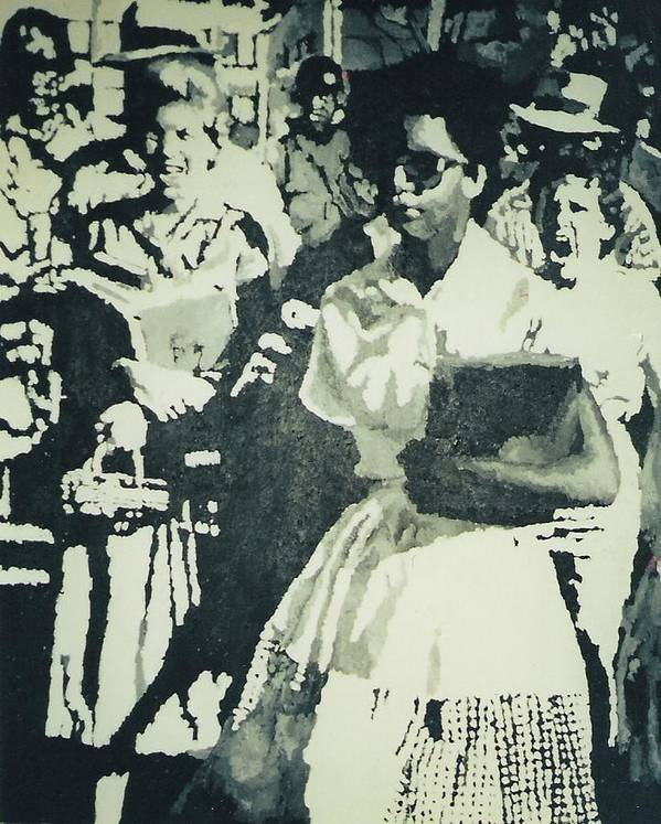 Civil Rights Art Print featuring the painting Elizabeth Eckford Making Her Way To Little Rock High School 1958 by Lauren Luna