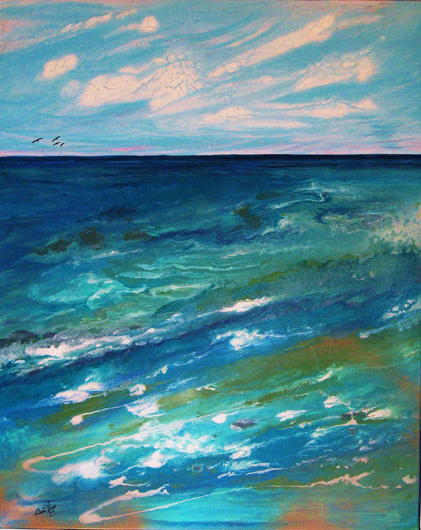 Contemporary Sea Art Print featuring the painting Energie Printaniere De L by Annie Rioux