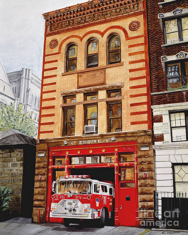 Firehouse Art Print featuring the painting Engine Company 47 by Paul Walsh