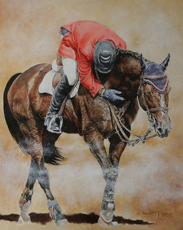 Hickstead Art Print featuring the painting Eric Lamaze And Hickstead by David McEwen