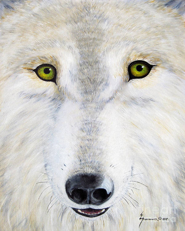 Wolf Art Print featuring the painting Eyes Of The Wolf by Jerome Stumphauzer