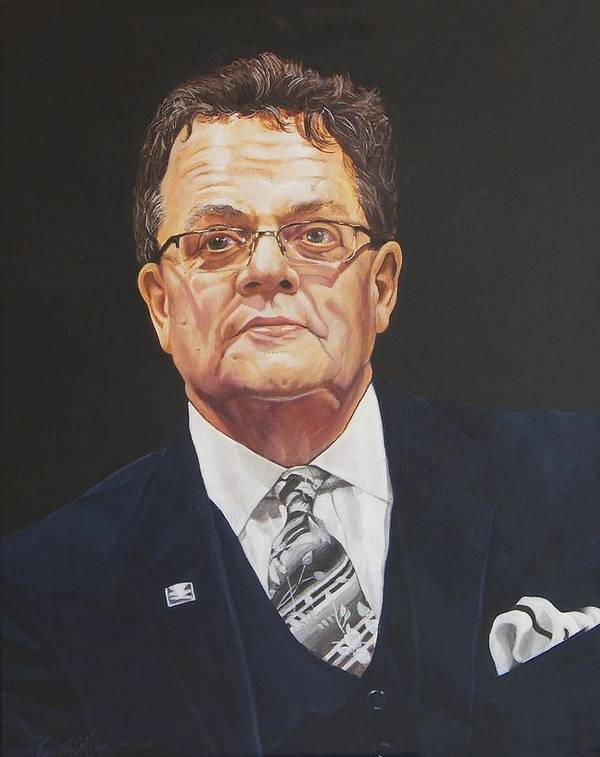 Faces Of Oroville Art Print featuring the painting Faces Of Oroville - Jim Moll by Kenneth Kelsoe