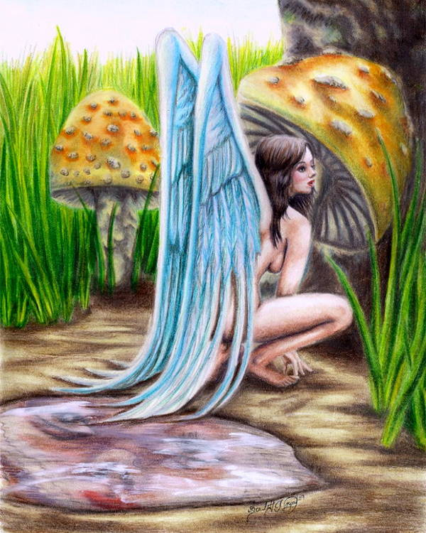 Wings Art Print featuring the drawing Fairy Amongst Poison by Scarlett Royal