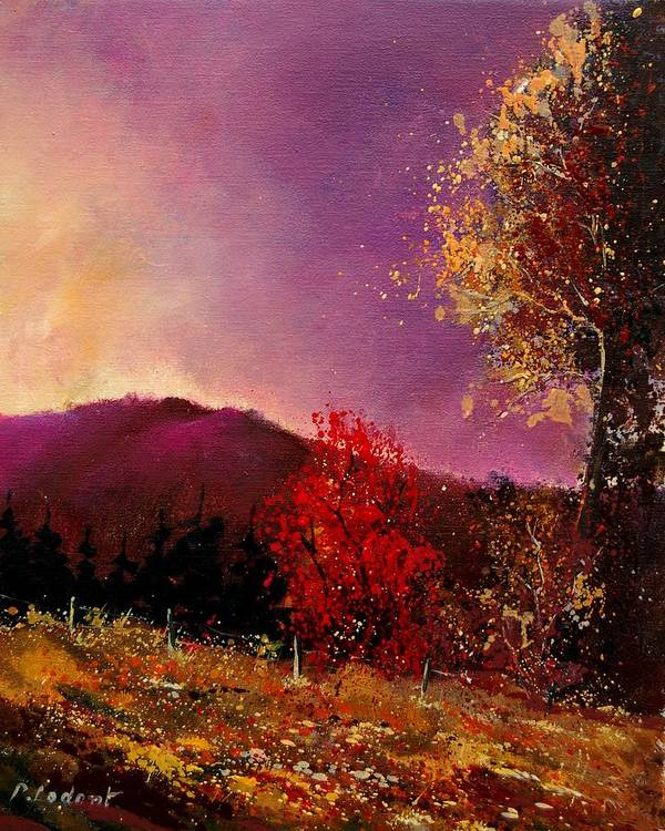 River Art Print featuring the painting Fall Colors by Pol Ledent