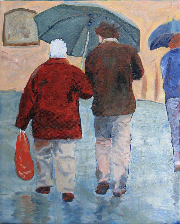 Figrues Art Print featuring the painting Father And Son Promenade by Libby Cagle