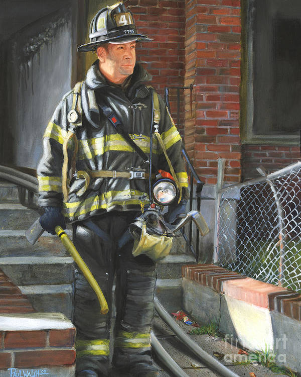 New York City Firefighter Art Print featuring the painting Fdny Squad 41 Firefighter by Paul Walsh