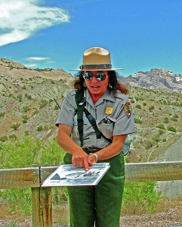 Field Archeologist Ranger In Dinosaur National Monument Art Print featuring the photograph Field Archeologist Ranger In Quarry In Dinosaur National Monument, Utah by Ruth Hager