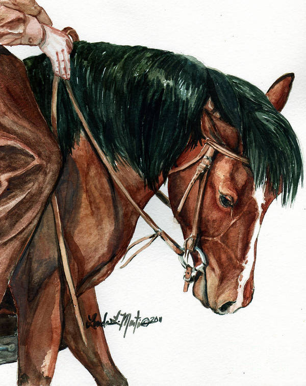 Wild Horse Art Print featuring the painting Fine Tuning by Linda L Martin