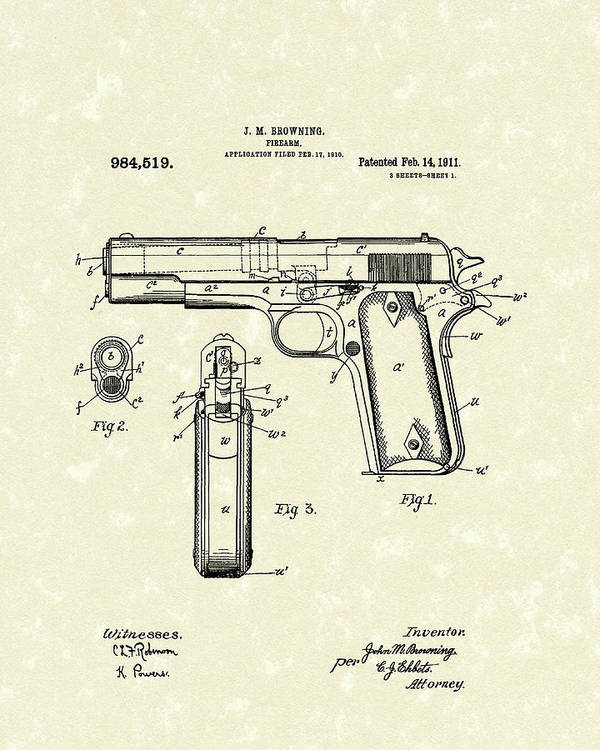 Browning Art Print featuring the drawing Firearm 1911 Patent Art by Prior Art Design