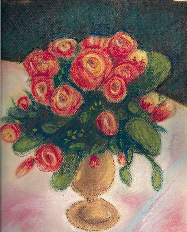 Impressionist Pastel Floral Still Life Roses Spring Art Print featuring the painting Flamingo Bouquet by Hilary England