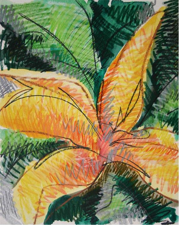 Lily Art Print featuring the painting Flora Exotica 2 by Dodd Holsapple