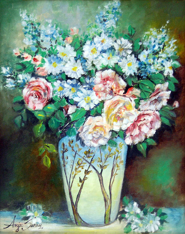 Flowers Art Print featuring the painting Flower Vase by Anju Saran