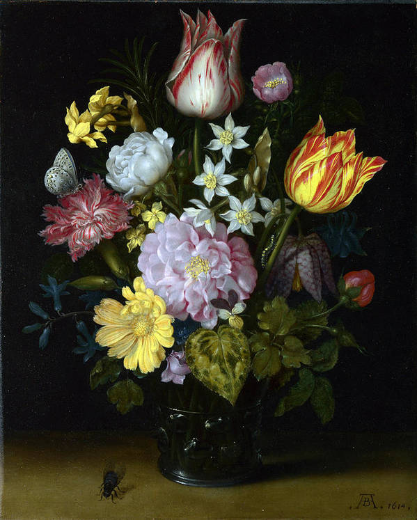 Ambrosius Bosschaert The Elder - Flowers In A Glass Vase Art Print featuring the painting Flowers In A Glass Vase by MotionAge Designs