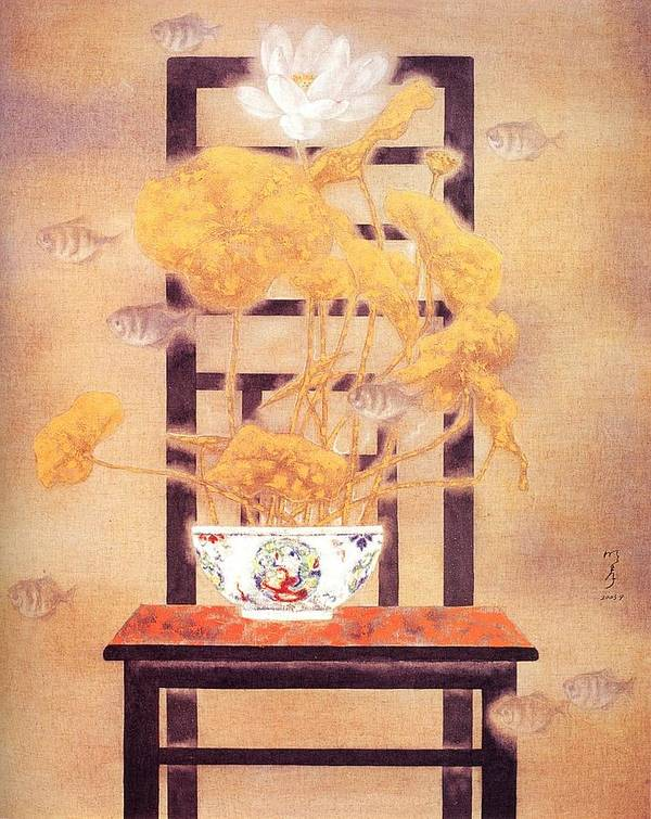 Flower Paintings Art Print featuring the painting Flowers In Vase- Lotus by Minxiao