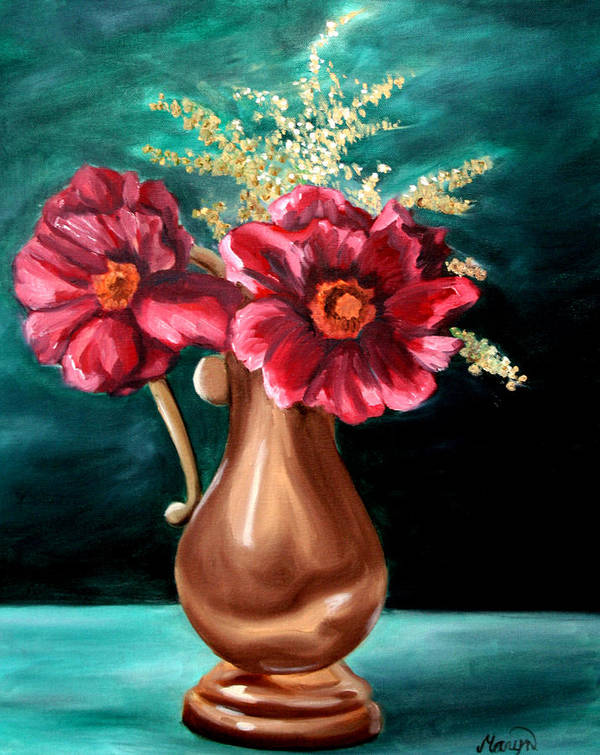 Flower Art Print featuring the painting Flowers by Maryn Crawford