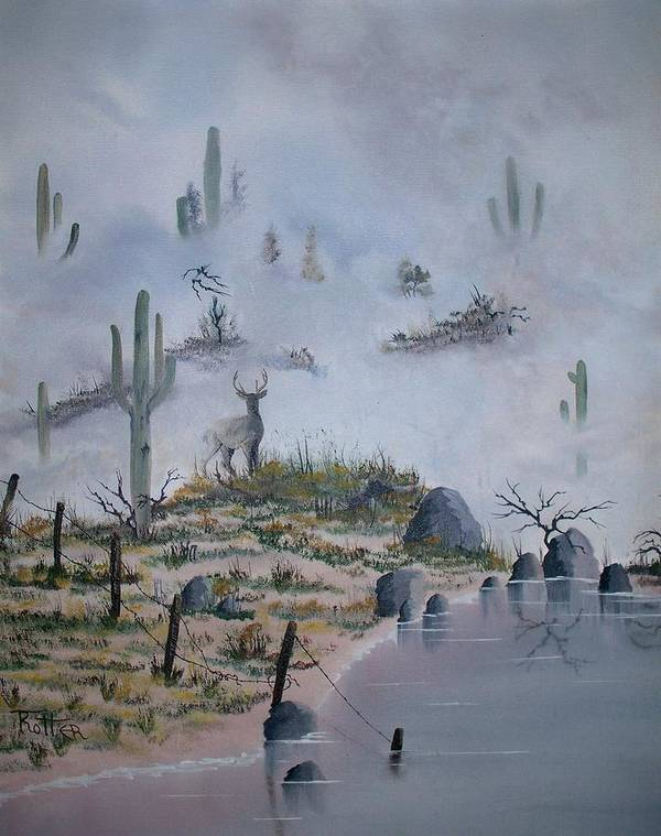 Animals Art Print featuring the painting Foggy Morning by Patrick Trotter