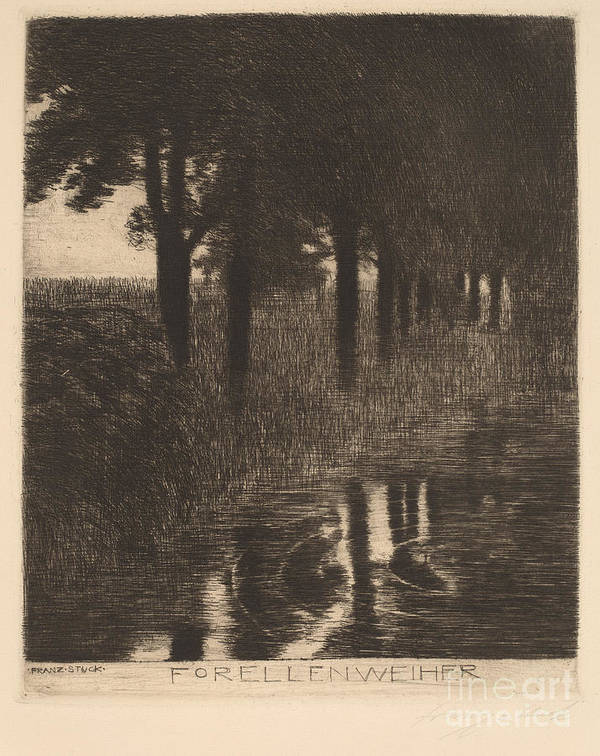 Art Print featuring the drawing Forellenweiher (trout Pond) by Franz Von Stuck