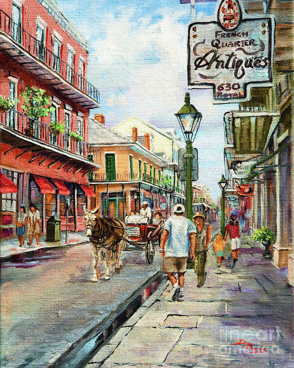 Royal Street Art Print featuring the painting French Quarter Antiques by Dianne Parks