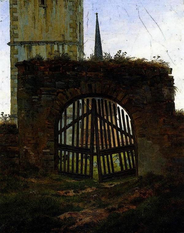 Friedrich Art Print featuring the digital art Friedrich Caspar David The Cemetery Gate by PixBreak Art