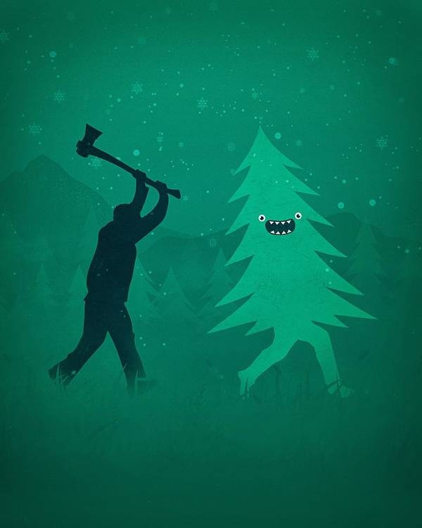 Cute Art Print featuring the digital art Funny Cartoon Christmas Tree Is Chased By Lumberjack Run Forrest Run by Philipp Rietz