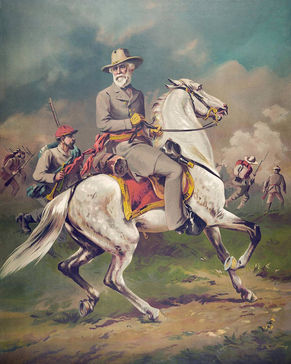 General Lee Art Print featuring the painting General Robert E. Lee On Horseback by War Is Hell Store