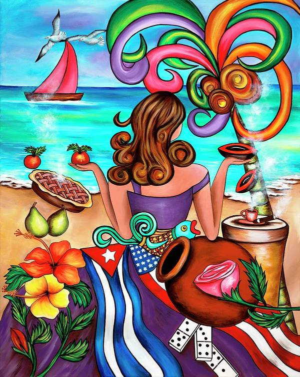 Cuba Art Print featuring the painting Generation Spanglish by Annie Maxwell