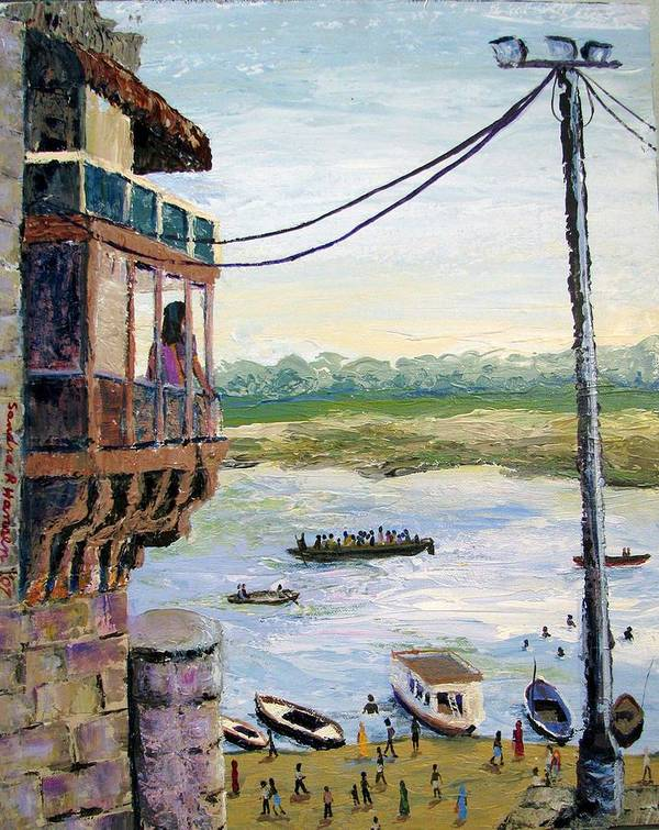 Ghats Art Print featuring the painting Ghats From Above by Art Nomad Sandra Hansen