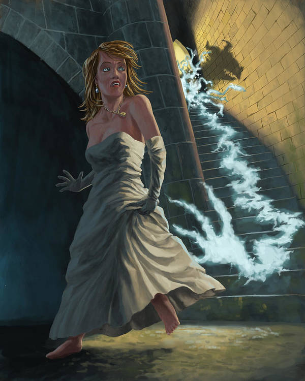 Princess Art Print featuring the painting Ghost Chasing Princess In Dark Dungeon by Martin Davey