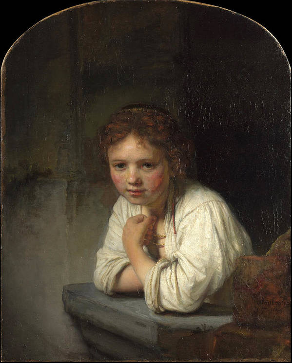 Rembrandt Art Print featuring the painting Girl At A Window by Rembrandt