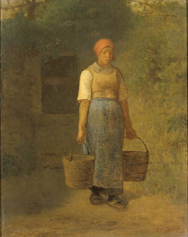 Girl Carrying Water Art Print featuring the painting Girl Carrying Water by Jean Francois Millet