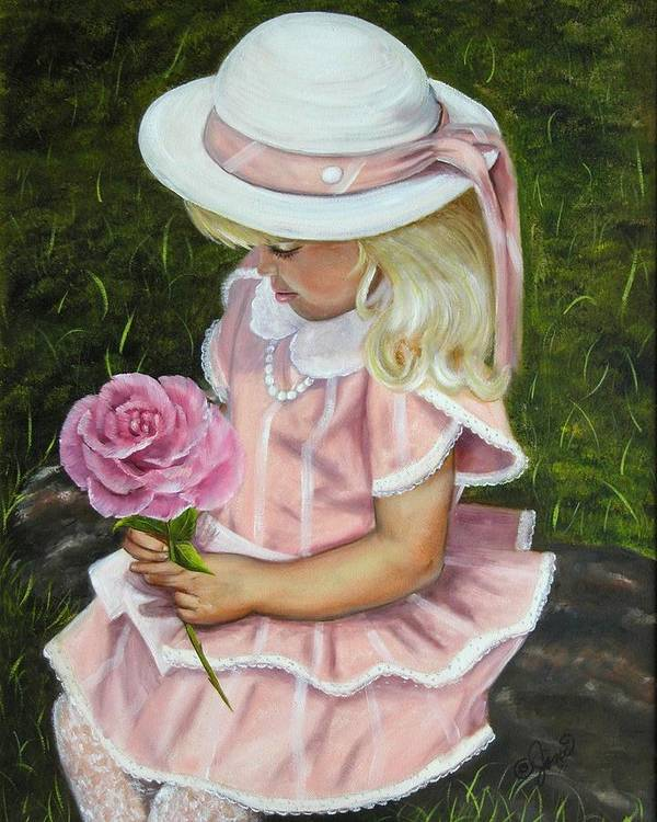 Girl Art Print featuring the painting Girl With Rose by Joni McPherson
