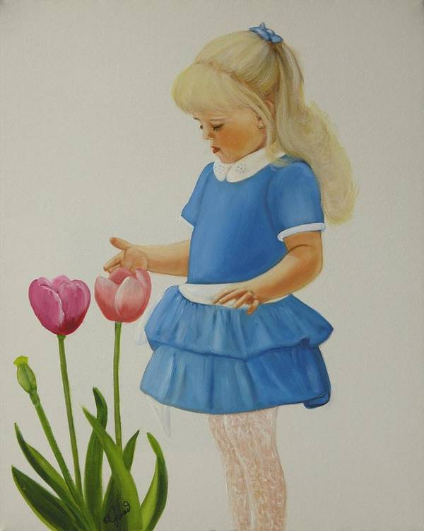 Portrait Art Print featuring the painting Girl With Tulips by Joni McPherson
