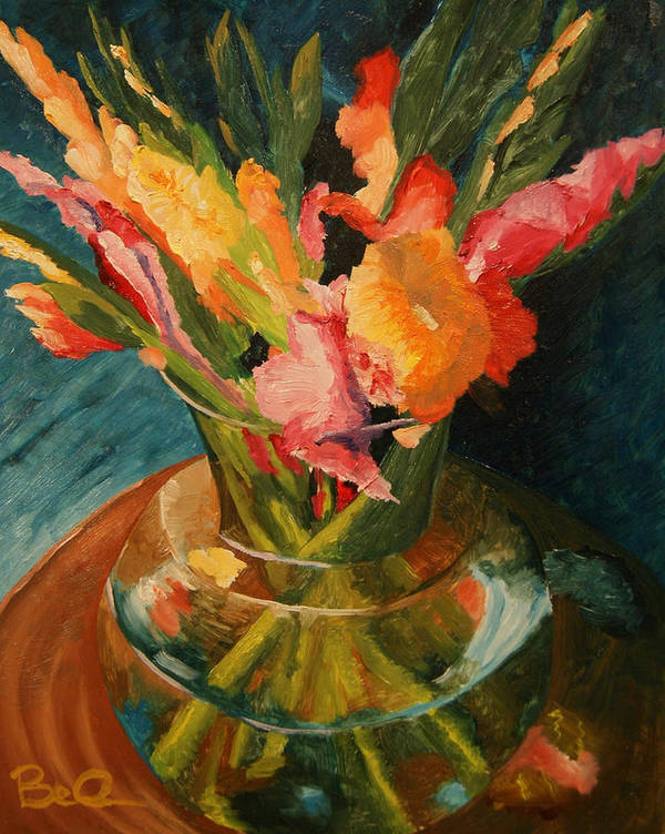 Semi-impressionist Art Print featuring the painting Glads In Glass by Barbara Auito