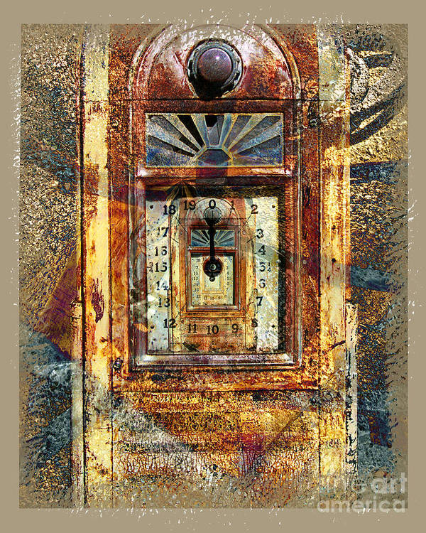 Gas Pump Art Print featuring the digital art Gold Mine Gas Pump by Chuck Brittenham
