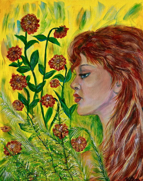 Abstract Art Print featuring the painting Golden Flora by Yelena Rubin