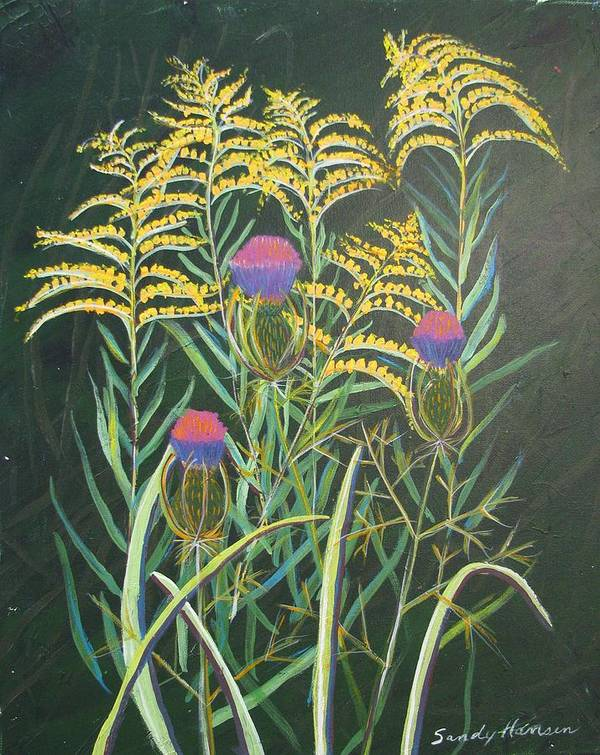 Goldenrod Art Print featuring the painting Goldenrod In Summer by Art Nomad Sandra Hansen